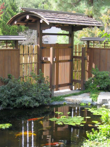 japanese-style-backyard-with-Japanese-style-gate-and-koi-pond
